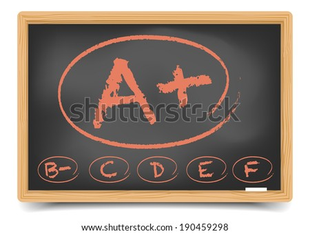 detailed illustration of a schoolgrades on a blackboard, eps10 vector, gradient mesh included - stock vector