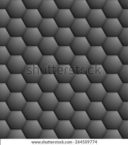 detailed illustration of a seamless dark hexagon pattern, eps10 vector  - stock vector