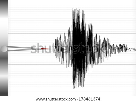detailed illustration of a seismograph, eps10 vector - stock vector