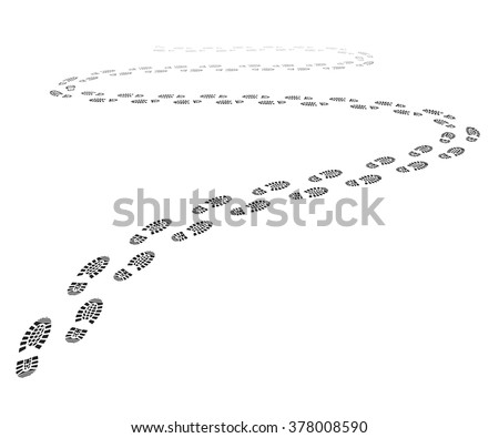 detailed illustration of a shoe print trail, eps10 vector - stock vector