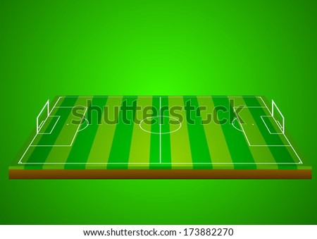 detailed illustration of a soccer field on a green background, eps10 vector - stock vector