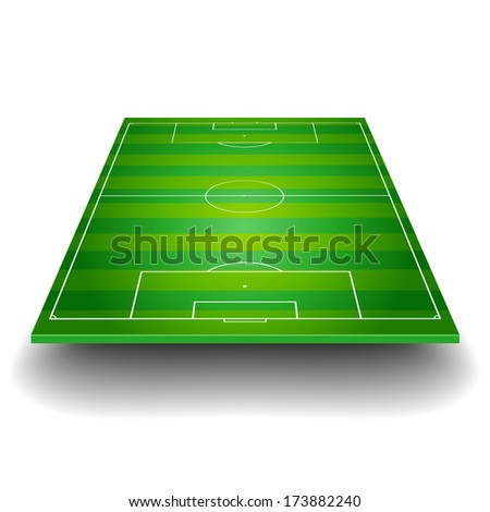 detailed illustration of a soccer field with front perspective, eps10 vector - stock vector
