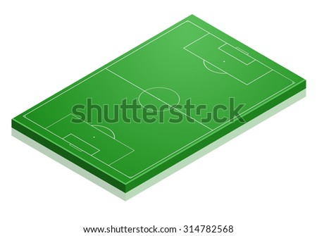 detailed illustration of a Soccer field with isometric perspective, eps10 vector - stock vector
