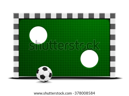 detailed illustration of a soccer training wall with a ball in front, eps10 vector - stock vector