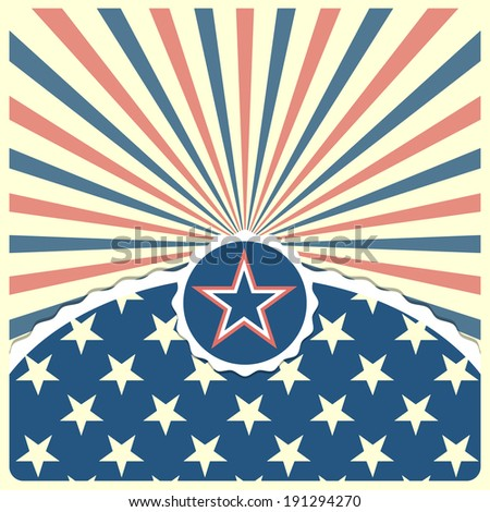 detailed illustration of a star on a patriotic striped background, eps 10 vector