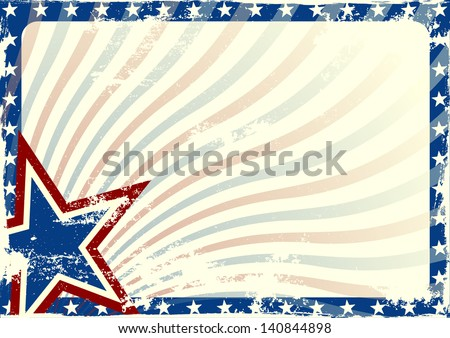 detailed illustration of a stars and stripes background with grunge texture and white space, eps 10 vector - stock vector