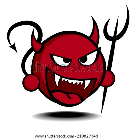 detailed illustration of a stylized red devil with trident, eps10 vector - stock vector