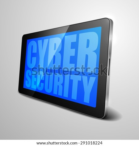 detailed illustration of a tablet computer device with Cyber Security text, eps10 vector - stock vector