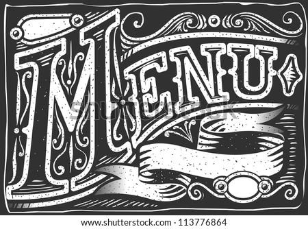 Detailed illustration of a vintage graphic element for menu on blackboard - stock vector