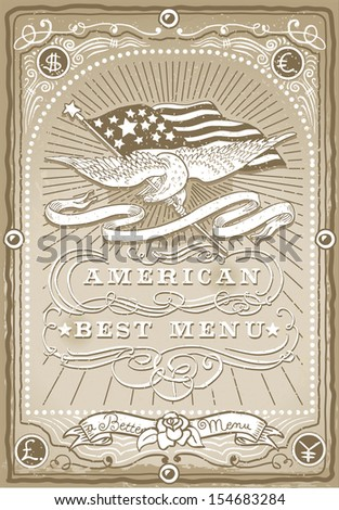 Detailed illustration of a vintage graphic Page for American Menu - stock vector