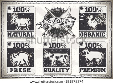 Detailed illustration of a Vintage Page  for Butcher Shop Labels - stock vector
