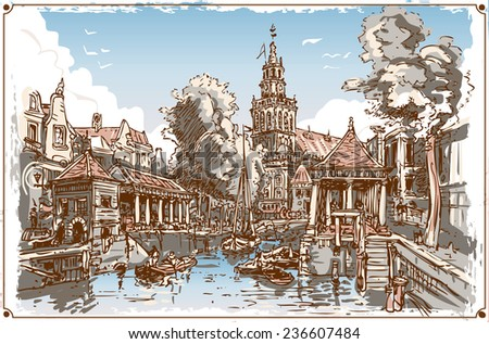 Detailed illustration of a Vintage View of Fish Market Canal in Gouda, Nederland   - stock vector