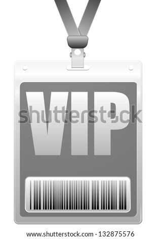 detailed illustration of a VIP badge with barcode, eps10 vector