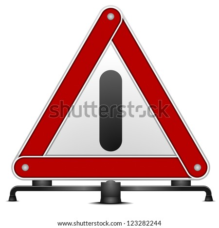 detailed illustration of a warning triangle isolated on white