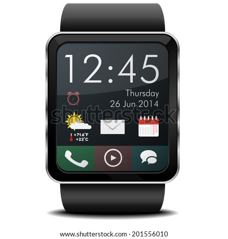detailed illustration of a wearable smartwarch with home screen, eps10 vector - stock vector
