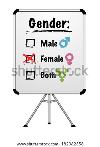 detailed illustration of a whiteboard with gender choice, eps10 vector - stock vector