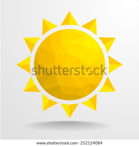 detailed illustration of an abstract polygon sun, eps10 vector - stock vector