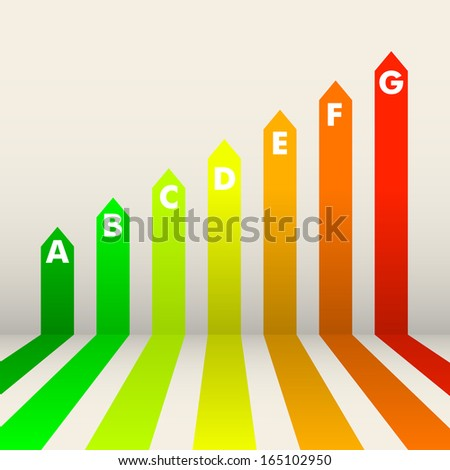 detailed illustration of an energy efficiency rating background - stock vector