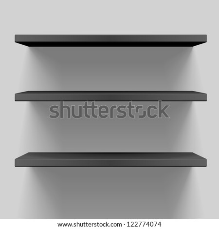 detailed illustration of black shelves with light from the top - stock vector