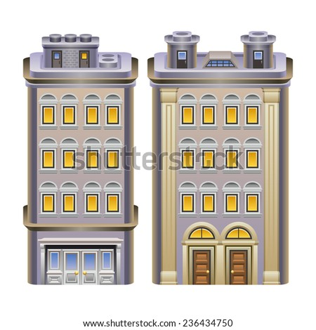 Detailed illustration of buildings. Vector eps 10. - stock vector