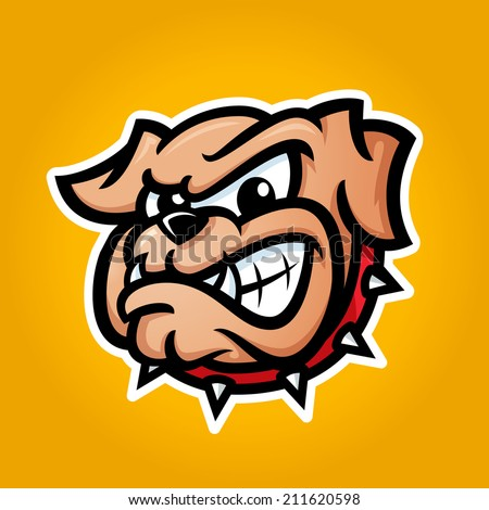 Detailed illustration of bulldog head with angry face emotion, good for team sport school college logos, vector - stock vector