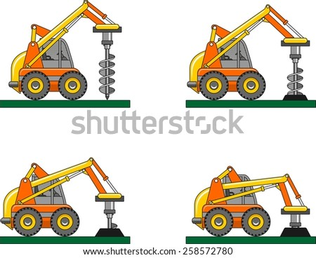 Detailed illustration of car with a drilling rig, heavy equipment and machinery