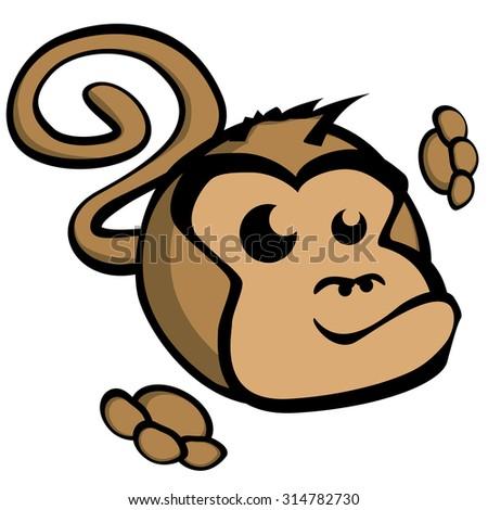 detailed illustration of cartoon style monkey face, eps10 vector - stock vector