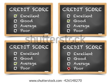 detailed illustration of checkboxes with Credit Score Ratings on a blackboard, eps10 vector, gradient mesh included - stock vector
