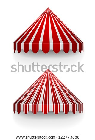detailed illustration of conical awnings - stock vector