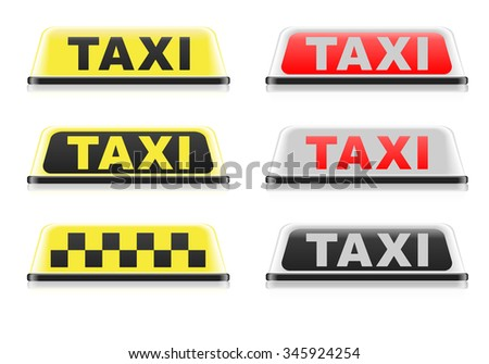 detailed illustration of different taxi signs, eps10 vector - stock vector