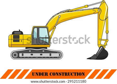 Detailed illustration of excavator, heavy equipment and machinery