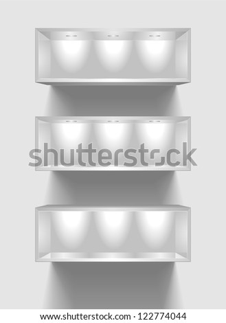 detailed illustration of exhibition shelves with light sources - stock vector