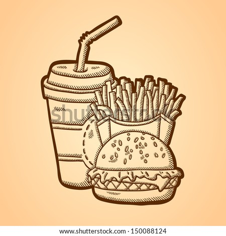 Detailed illustration of fast food in vintage style. Hand drawn. Isolated object on yellow background.