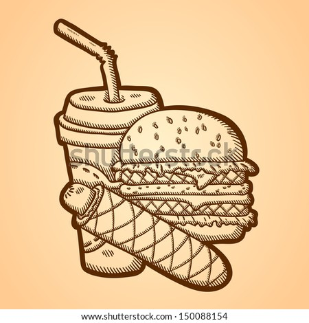 Detailed illustration of fast food in vintage style. Hand drawn. Isolated object on yellow background. - stock vector