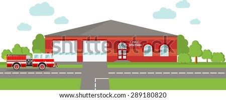 Detailed illustration of  fire station building and fire truck in a flat style. - stock vector