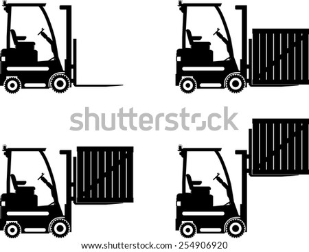 Detailed illustration of forklifts, heavy equipment and machinery - stock vector