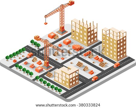 Detailed illustration of isometric construction building with construction cranes and trucks and houses