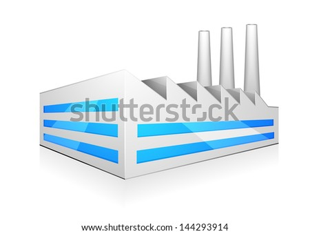 detailed illustration of modern factory building with three chimneys, eps 10 vector - stock vector