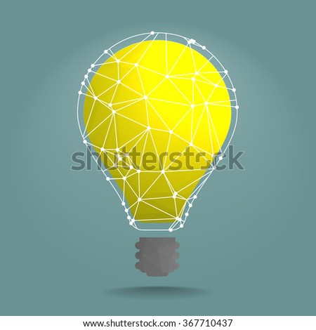 detailed illustration of polygonal lightbulb with white network around it, eps10 vector