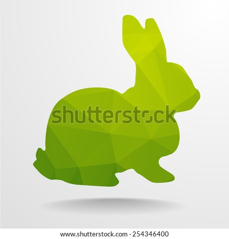 detailed illustration of polygonal rabbit, eps10 vector - stock vector