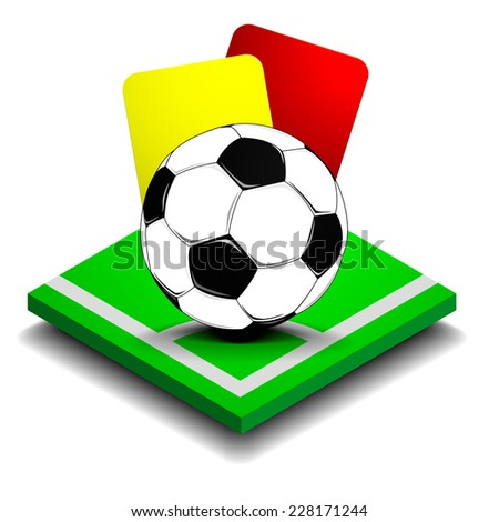 detailed illustration of red and yellow card behind a soccer ball on a small green field, eps10 vector - stock vector
