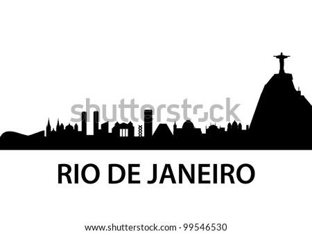 detailed illustration of Rio de Janeiro skyline, Brazil - stock vector