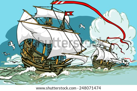 Detailed illustration of the Great Discoveries - Three Galleons Sailing - stock vector