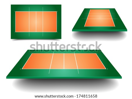 detailed illustration of volleyball courts with perspective, eps10 vector - stock vector