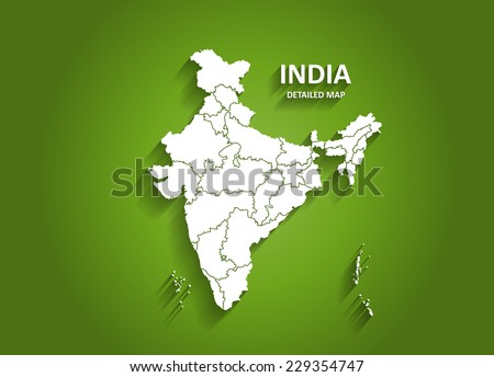 Detailed India Map on Green Background with Shadows (EPS10 Vector)
