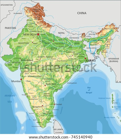 Detailed India Physical Map Stock Vector 745140940 Shutterstock