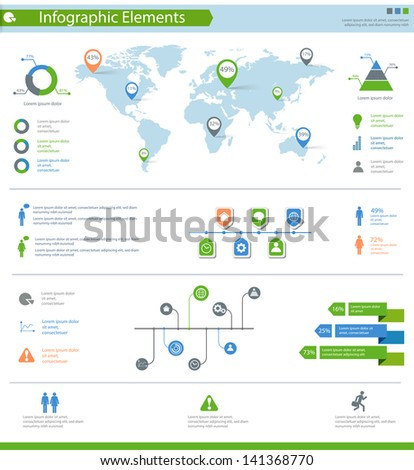 detailed infographic elements set with world map graphics and charts eps10 - stock vector