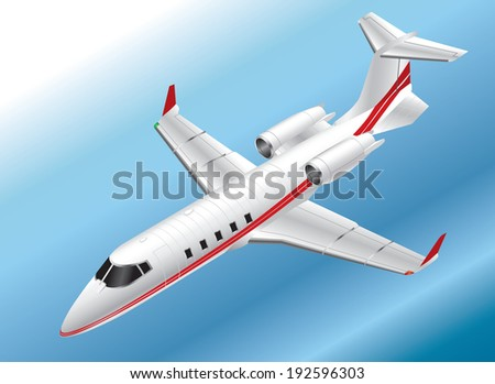 Detailed Isometric Vector Illustration of a Learjet 60