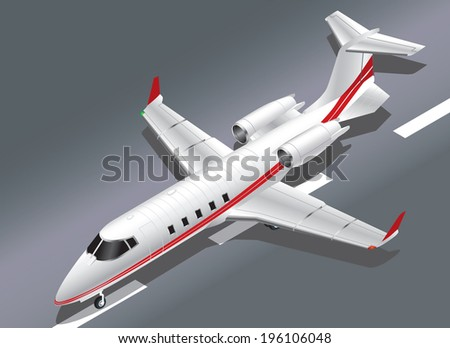Detailed Isometric Vector Illustration of a Private Jet Taking Off - stock vector