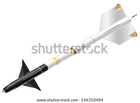 Detailed Isometric Vector Illustration of a Sidewinder Missile - stock vector